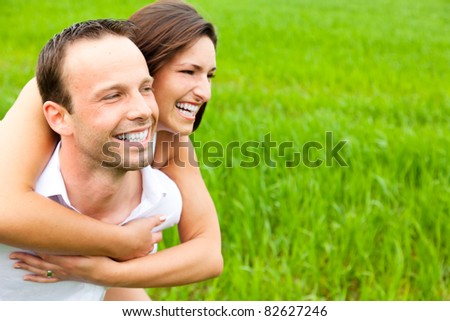happy embracing couple