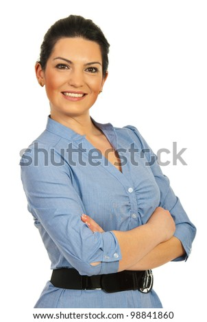 Happy executive woman standing with arms folded isolated on white background