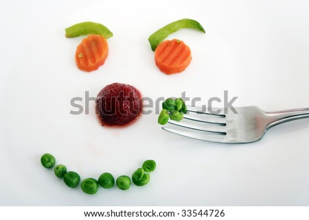 Happy face mande by vegetables ! Diet concept.