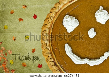 Happy face on pumpkin with thank you message