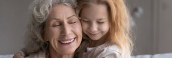 Happy faces of excited older grandmother and little preteen girl granddaughter cuddling after long separation touch cheeks with closed eyes feel love affection. Panoramic header image website banner