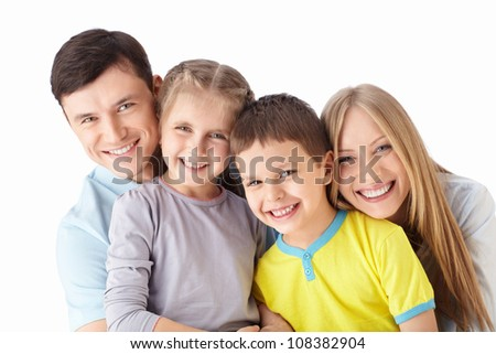 Happy families with children on a white background