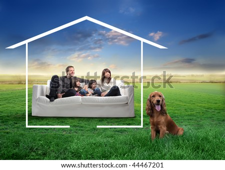 happy family and dog in the countryside dreaming a home