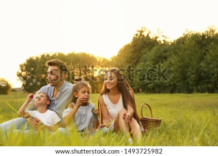 Happy family blowing soap bubbles in park at sunset. Summer picnic #1493725982