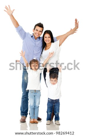 Happy family celebrating with arms up - isolated over a white background