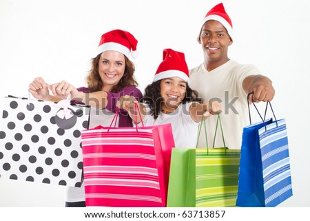 happy family Christmas shopping