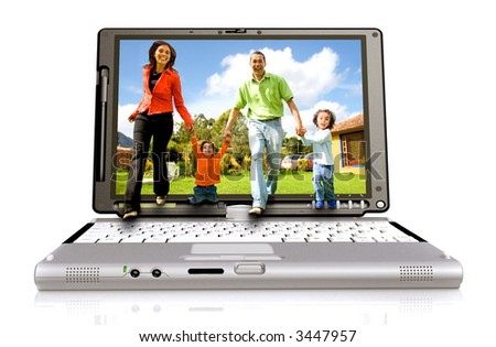 Happy family coming out of a laptop screen – isolated over white background