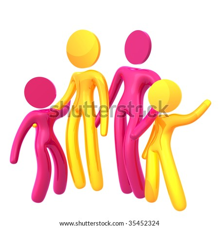 Happy family 3d humanoid pictogram icon