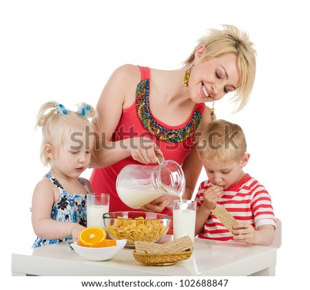 Happy family eating breakfast. isolated on white background