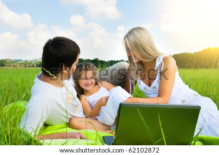 Happy family enjoy outdoors