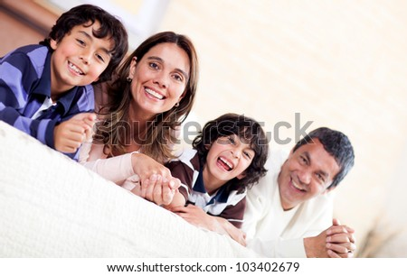 Happy family enjoying their time together at home