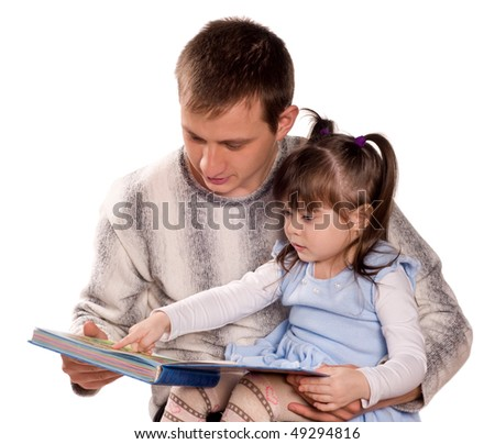 Happy family. Father and child reading a book. Isolated on white background. Beautiful caucasian models. - stock photo