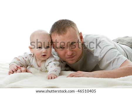 Happy family. Father and  his sweet  baby on a white background.