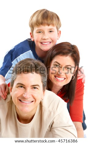 Happy family. Father, mother and boy. Over white background #45716386