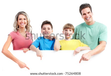Happy family. Father, mother and children. Isolated over white background.