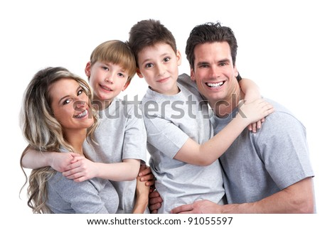 Happy family. Father, mother and children. Over white background #91055597