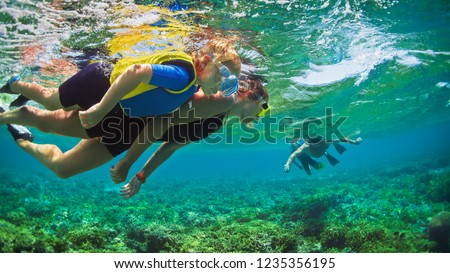 Happy family - father, mother, kids in snorkeling mask dive underwater with tropical fishes in coral reef sea pool. Travel lifestyle, watersport adventure, swimming on summer beach holiday with child. #1235356195