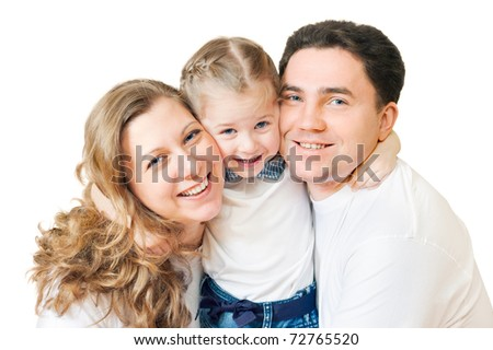 Happy family from three persons