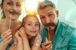 happy family fun making selfie