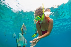 Happy family - girl in snorkeling mask dive underwater, explore tropical fishes Platax ( Batfish). Travel lifestyle, beach adventure, swimming activity, water sport on summer beach holidays with kids.