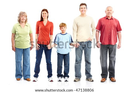Happy family. Grandfather, grandmother, father, mother and boy. Isolated over white background - stock photo