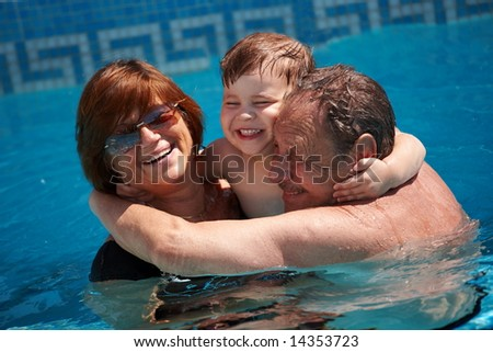 Family Bath Together Happy family: grandparents