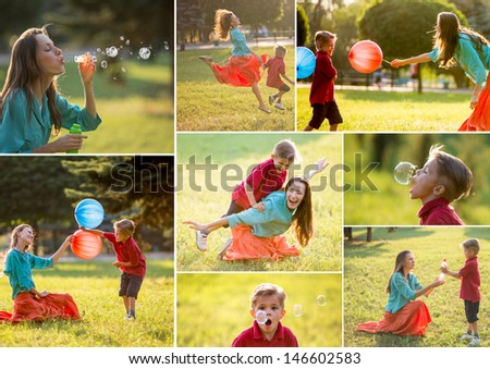 Happy family having fun Collage of photos mother and son playing outdoors on sunny day