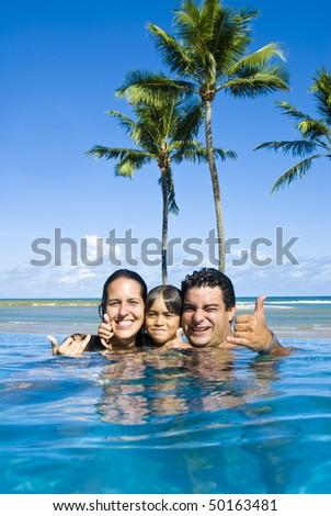 Happy Family having fun in the pool .