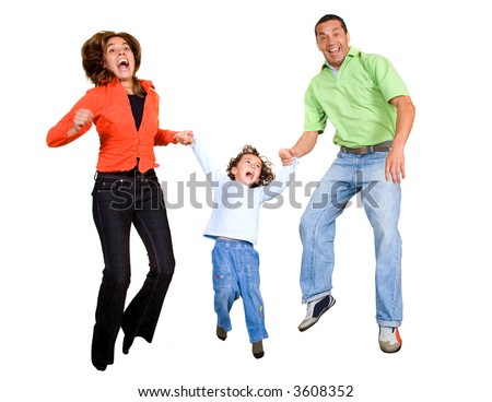 happy family having fun jumping in the air all looking very happy