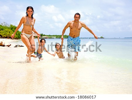 happy family having fun on holidays - togetherness concept