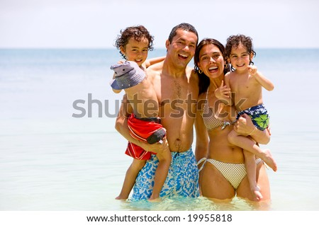 happy family having fun on vacation - togetherness concept