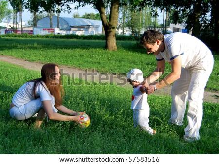 Happy family having fun outdoors at home
