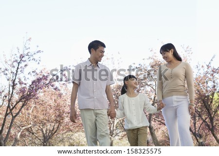 Happy family holding hands and taking a walk amongst the cherry trees