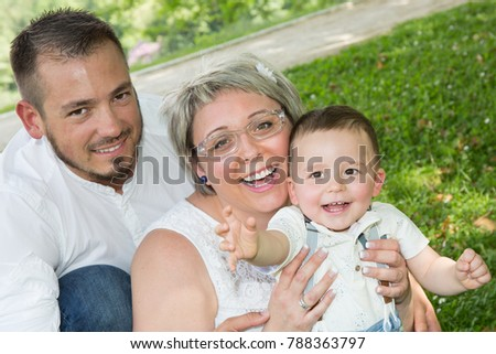 Happy family in a park #788363797