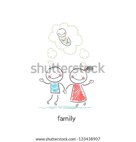 Happy family is waiting for the birth. Illustration.