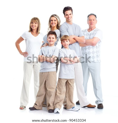 Happy family. Isolated over white background.