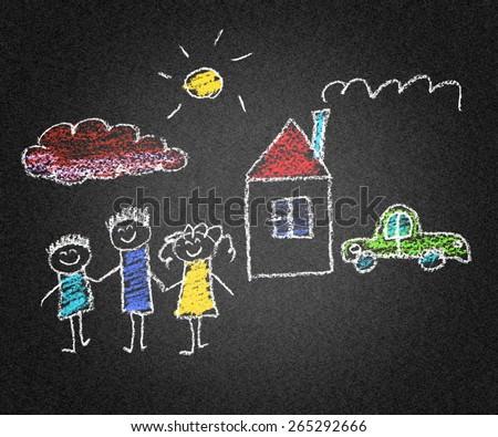 Happy family. Kids drawings. Asphalt drawing