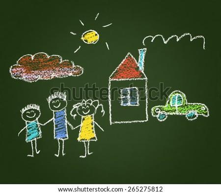 Happy family. Kids drawings. Blackboard