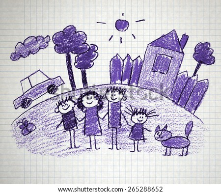 Happy family. Kids drawings. Notebook