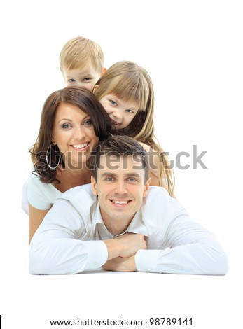 Happy family laying