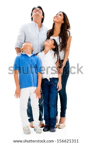 Happy family looking up - isolated over a white background  #156621311