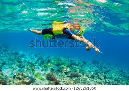 Happy family - mother, kid in snorkeling mask dive underwater, explore tropical fishes in coral reef sea pool. Travel active lifestyle, beach adventure, swimming activity on summer holiday with child. #1263261850