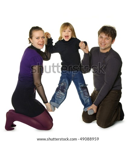Happy family. Mum and the daddy hold the son in hands. It is isolated on a white background