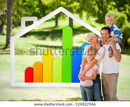 Happy family near to an energy effiecient house illustration in the park