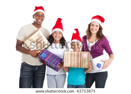 happy family of four holding christmas presents on white