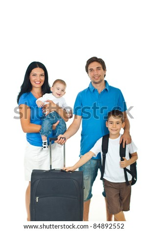 Happy family of four members ready for travel isolated on white background
