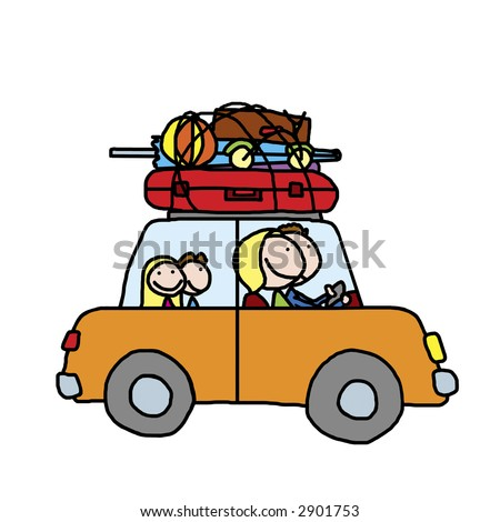 Happy family of four traveling in a car on summer vacation