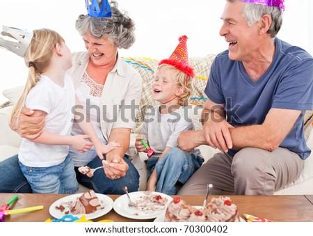 Happy family on a birthday