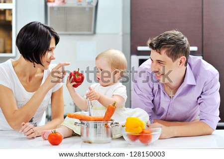 Happy family on a kitchen