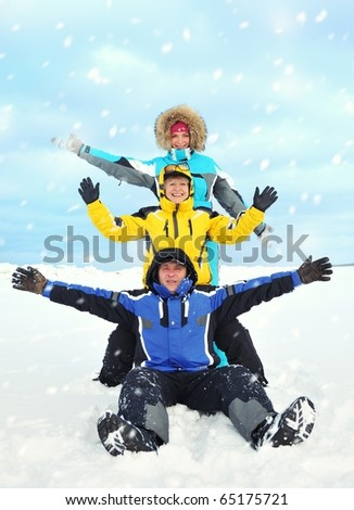 Happy family on a winter background